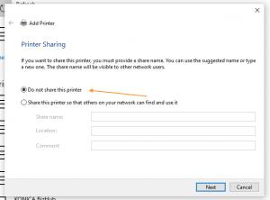 printer sharing settings