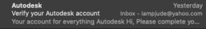 verifying autodesk account