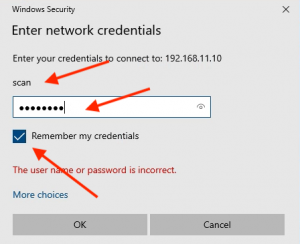 remember network credentials