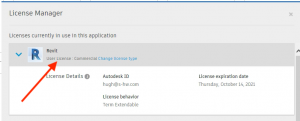 how to view user license in revit